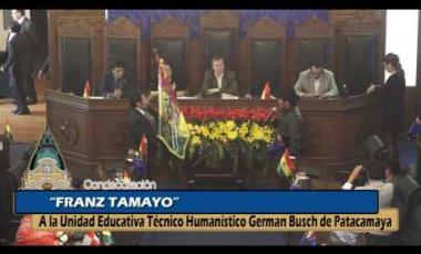 Embedded thumbnail for Condecoración Franz Tamayo a la Unidad Educativa Técnico Humanístico German Busch de Patacamaya